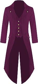 Mens Tailcoat Jacket Elegant Gothic Frock Coat Uniform Costume Long Sleeve Suit Jacket Vintage Party Punk Retro Tuxedo Coa...