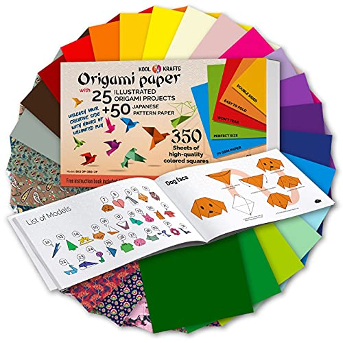 Origami Paper | 350 Origami Paper Kit | Set Includes - 300 Sheets 20 Colors 6x6 | 50 Traditional Japanese Patterns | Origami Book 25 Easy Colored Projects | Crafts for Kids | Art Supplies Kids 9-12
