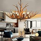 Lámpara de techo en forma de madera de ciervo vintage, de resina con 6 luces, decoración artística de iluminación, lámpara rústica para café, restaurante, pasillo, dormitorio, comedor, E14