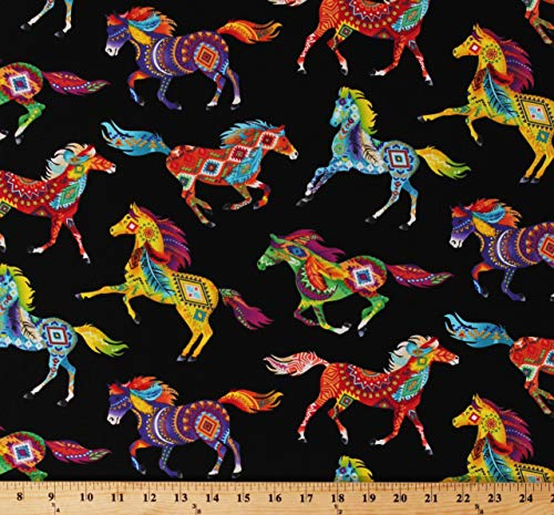 Cotton Southwestern Horses Decorated Horse Aztec Tribal Designs Feathers Bright Multi-Color Animals on Black Cotton Fabric Print by The Yard (D579.43)
