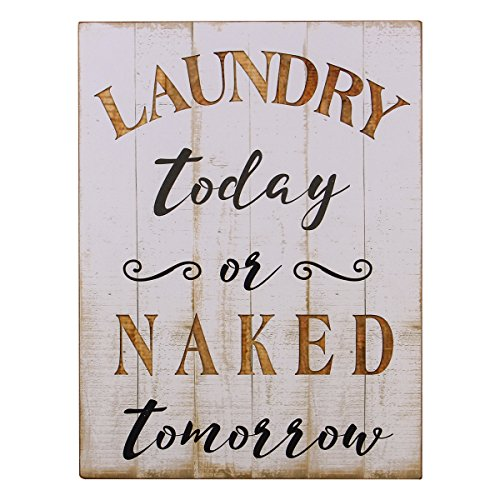 NIKKY HOME Rustic Wood Framed Wall Plaque Sign Laundry Today or Naked Tomorrow White