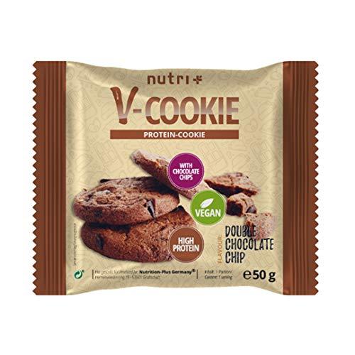 Vegane Protein Cookies Schoko Einzeln - Proteinkekse Vegan ohne Süßstoff - Cookie Double Chocolate Chip Flavour mit 29,4% Eiweiß - 50g Eiweißkeks Geschmack: Schokolade