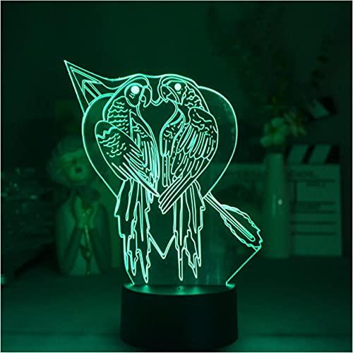 Luz De Noche 3D Loro Decoración De Habitación Linda Interruptor Atmósfera Focos Led Decoraciones Para El Hogar Escritorio Lamparas