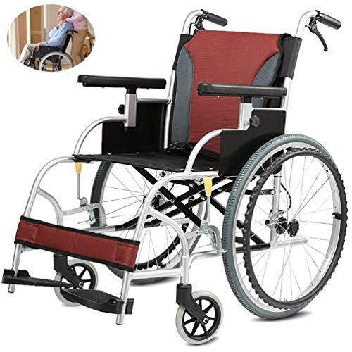 Silla de ruedas autopropulsada plegable ligera Aleación de aluminio silla de ruedas, doblar la luz discapacitados Vespa viejo tranvía viajar con los neumáticos inflables freno ajustable Pedal transpir