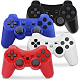 PS3 Controller Wireless, Gaming Remote Joystick for Playstation 3 with Charger Cable Cord (Black, Red, White, Blue)