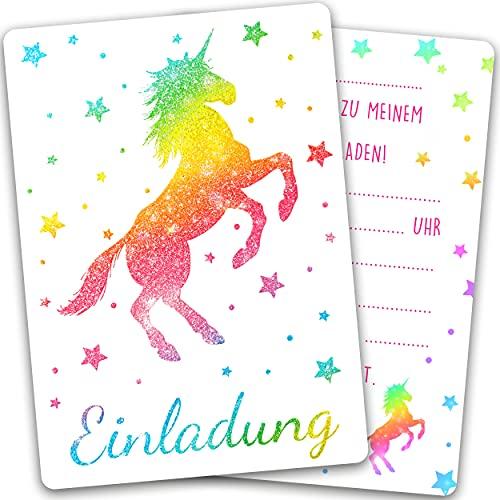 15 x Einhorn Glitzer Einladungskarten Geburtstag Kinder - Größe A6 - Coole Einladung zum Kindergeburtstag für Mädchen und Jungen - Witzige Einladungskarte - Glitzerlack