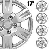 BDK (4-Pack) Premium 17' Wheel Rim Cover Hubcaps OEM Style Replacement Snap On Car Truck SUV Hub Cap - 17 Inch Set