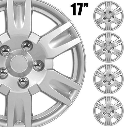 """BDK (4-Pack Premium 17"""" Wheel Rim Cover Hubcaps OEM Style Replacement Snap On Car Truck SUV Hub Cap - 17 Inch Set, KT-999-17_df"""