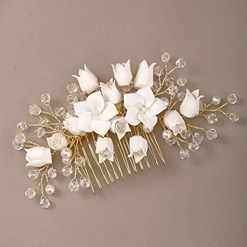 Accesorios para el cabello de boda de porcelana dorada, tocado, peine de...