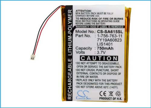 CS-SA615SL Akku 750mAh Kompatibel mit [Sony] NW-S710, NWZ-S600, NWZ-S600F, NWZ-S610, NWZ-S615, NWZ-S615F, NWZ-S616, NWZ-S616F, NWZ-S618, NWZ-S618FBLK, NWZ-S638FRED, NWZ-S716FRNC, NWZ-S716FSNC Ersetzt