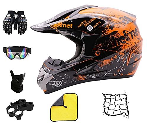 Motocross Helm Orange Schwarz,ATV Helm Herren,Jugend Kinder crosshelm Set mit Brille,BMX Fahrrad Downhill Offroad Helm für Männer Damen (M(57-58 cm))