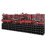 Werkzeugwand Lagersystem 2308 x 780 mm - SET Werkzeughaltern und 88 Stück Schwarz Stapelboxen -...