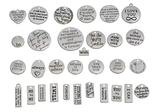 YYaaloa Pack of 31 Inspirational Message Sayings Charms DIY Charms Pendant for Crafting, Jewelry Making Accessory (Inspiration Charms 31pcs Silver)