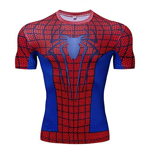 Camiseta Compresión para Hombre Manga Corta Spiderman Sports Ropa Secado Rápido Jogging Fitness Camiseta Manga Corta Camisetas Adultos Superhéroe,Red-XL (170~180CM)