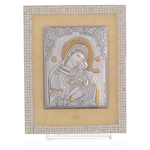 Holyart Cuadro Maternidad ortodoxo Swarovski Blancos 14x11 cm.