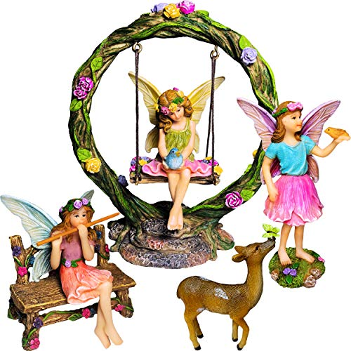 Fairy Garden Kit - Miniature Figurines with Accessories Swing Set of 6 pcs - Hand Painted for Outdoor or House Decor