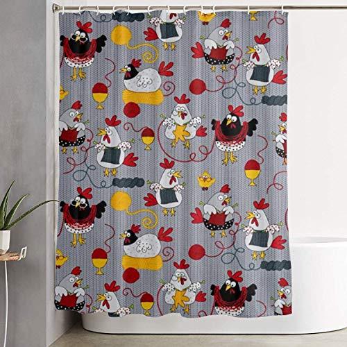 N/A Duschvorhang mit Haken, Motiv Hühner, wasserdicht, Polyester, 152 x 183 cm, Grau