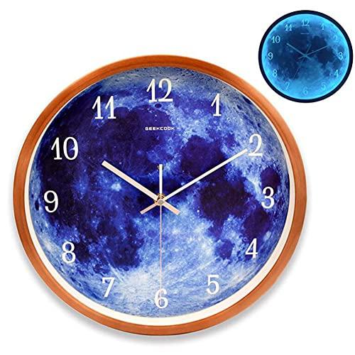 YLJXXY Reloj de Pared de 30cm de Metal Luminoso Silencioso con Luz...