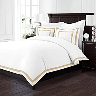 Sleep Restoration Luxury Soft Brushed Embroidered Microfiber Duvet Cover Set with Beautiful Trim & Embroidery Details - Hypoallergenic -Full/Queen - White/Gold