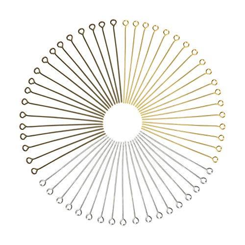 Toaab 300 agujas de clavo para ojales, bronce plateado, dorado, 45 mm, para creación de joyas