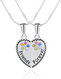 BFF Friendship Necklace for 2 Best Friends Necklace Girls Heart Broken Friendship Girls Gift Set, Charm Engraved Letters Jewelry, 18