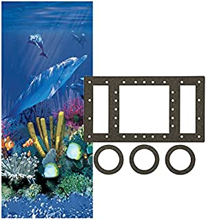 Smartline Antilles Dolphin 27-Foot Round Overlap Liner | 48-to-52-Inch Wall Height | 25 Gauge Virgin Vinyl | Designed for Steel Sided Above-Ground Swimming Pools | Universal Gasket Kit Included