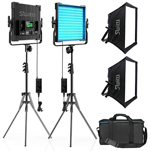 Video Licht mit Light Stativ Softbox 2 Packs, CRI 96 + Dimmbares zweifarbigs 2600-10000K-Panel-Licht, Fotobeleuchtung, für Videoaufnahmen von Porträtprodukten YouTube Studio Fotografie