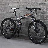 TopJiä Bicicleta de montaña plegable de 26 pulgadas, absorción total de impactos, bicicleta de montaña para hombres, bicicleta de carretera para adolescentes de 21 velocidades H 21 Speed