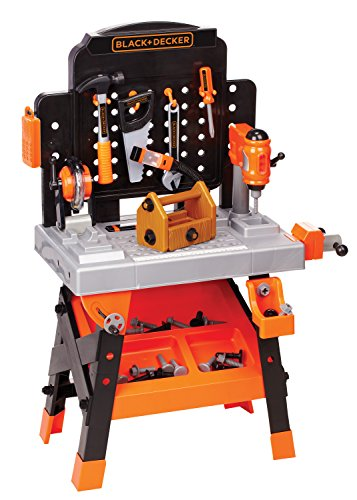 BLACK + DECKER Power Tool Workshop - Play Toy Workbench for Kids with Drill, Miter Saw and Working Flashlight - Build Your Own Tool Box - 75 Realistic Toy Tools and Accessories