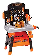 Comes with 75 tools & accessory pieces Realistic action, lights and sounds Learn motor skills, imaginative play and safety lessons Black and Decker Junior pretend tools look just like the tools dad uses Recommended for ages 3+ Included components: Wo...