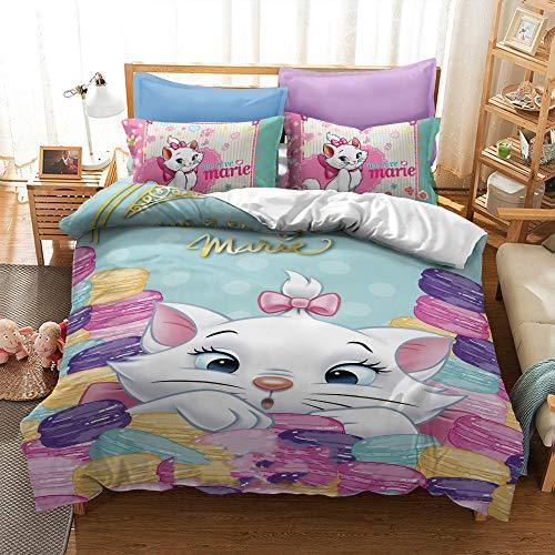 Enhome Duvet Cover Bedding Set for Single Double King Size Bed, 3D Cartoon White Cat Print Microfiber Duvet Set Quilt Case with Pillowcases (Marie-F,220x240cm)