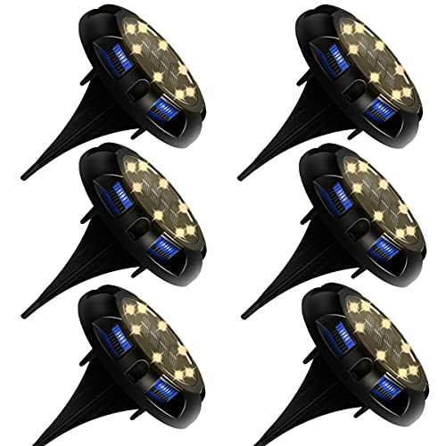 Luces Solares Exterior Jardin 8LED 6pcs, Impermeable IP65 So