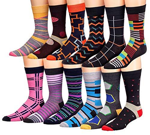 James Fiallo Mens 12 Pack Colorful Patterned Dress Socks M5800,Fits shoe size 6-12 (sock size 10-13)