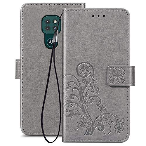FANFO® Funda para Motorola Moto G9 Play, [Patrones de Relieve 3D] Cierre Magnético Snap Flip Proteccion Caso Carcasa Libro de Cuero con Ranuras para Tarjetas y Soporte, Gris
