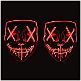LED Light Up Mask, Halloween Glowing Mask Flash Blood Horror Thriller, LED Mask Party Mask Skull Atmosphere Props Mask with 3 EL Cold Light Modes, Scary Face Mask Cosplay Mask for Men Women Kids (red)