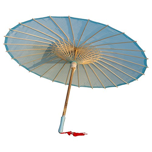 AEAOA Plain Bamboo Cloth Parasol Umbrella Great for Wedding Party Favor (Light Blue)