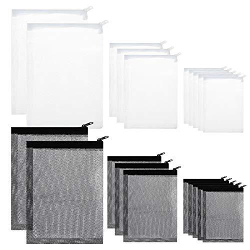Bolsas de Filtro para Acuario MEZOOM 20 Piezas Bolsa de Filtro con Cremallera Malla para Filtro de Acuario Accesorios para Filtros de Pecera Bolsa de Nailon para Estanque (Blanco y Negro)