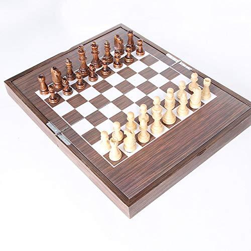 NBALL-TT Schach-Set Aus Holz 38 * 24 * 10Cm Faltbare Schach-Brettspiel Magnetic Chess Handmade Crafted Chessmen Travel International Brettspiele Für Erwachsene