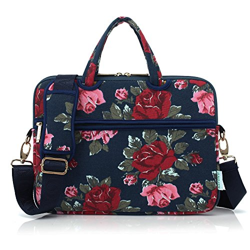 Kayond Canvas Ultraportable Neoprene Laptop Carrying Case/Shoulder Messenger Bag/Daily Briefcase for Work/School/Travel,Compatible MacBook(15-15.6, Bule Peony)
