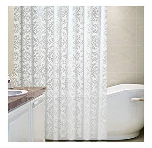 AiZnoY Polyester Duschvorhang Anti-Schimmel Wasserdicht An Badewanne Bad Vorhang Für Badezimmer Inkl. 12 Duschvorhangringen Blumen White 180X200Cm