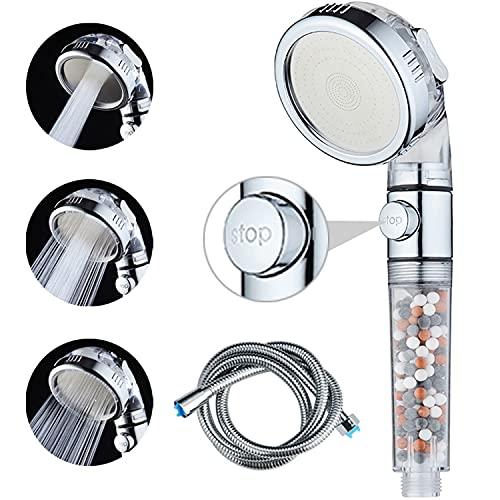 Shower Head with Hose, High Pressure Handheld Shower Head with ON/OFF Switch, Ionic Filter Showerhead, Water Saving 3 Modes Spray Bathroom Shower Head, Soften Water for Dry Skin & Hair