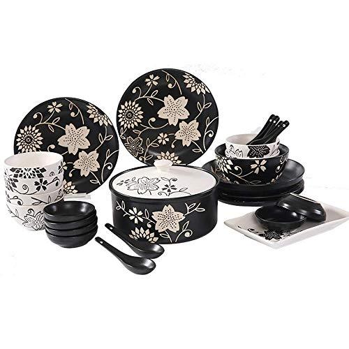 GAXQFEI Vajilla Juegos de servicio para los 6/8, placas de cocina y cuencos Establece Negro, porcelana Set Plato Incluye Platos/Ensaladera/tazas, de estilo japonés vajilla, 26 piezas
