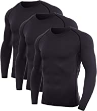 SILKWORLD Men's Compression T-Shirts Dry Fit Baselayer Long Sleeve Running Gym Top