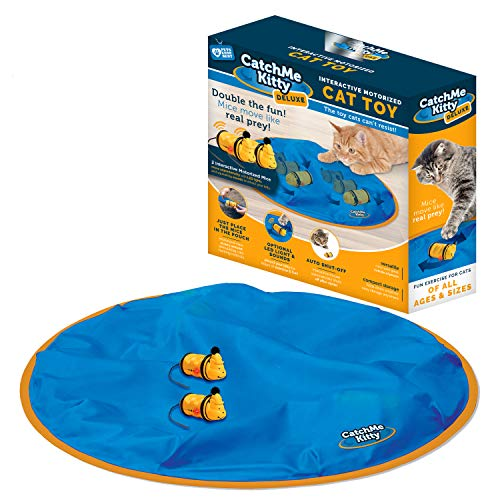 Catch Me Kitty Deluxe- Interactive Cat & Mouse Toy, 2- Electronic Mice with Unpredictable Movements, 15 Minute Auto Off, Optional Light & Sound to Attract your Cat for Hours of Play, Exercise & Fun