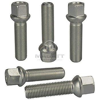 Argent Haskyy 10 Boulons de Argent Zingu/é Conique C/ône M14x1,5 en Diff/érentes Longueur de Tube au Choix 35mm