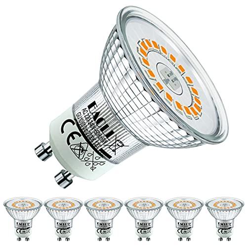 EACLL GU10 LED Warmweiss 6W Ersetzt 55W Halogen Leuchtmittel, 6er-Pack. 2700K 610 Lumen Birnen, AC 230V Flimmerfrei Strahler, Abstrahlwinkel 120 ° Spot, Nicht Dimmbar Reflektorlampen
