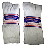 6 Pair White Diabetic Crew Socks Physicians' Choice 10-13 Made in USA Non Binding Loose Fit Top