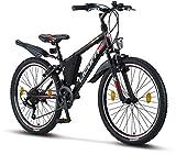 Licorne Bike Guide Bicicleta de montaña de 24 pulgadas, cambio Shimano de 21 velocidades,...