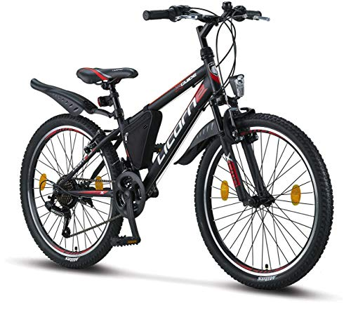 Licorne Guide Mountain Bike - 24 Inch - Shimano 21-Speed Gears, Fork Suspension - Children's Bicycle...