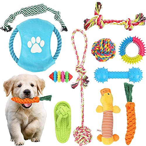 Dog Toys Puppy Teething Chew Toys, 11 Pack Dog Chew Toys Puppy Chew Toys for Teething, Indestructible Dog Toy, Dog Interactive Toys, Dental Cleaning Prevents Boredom and Relieves Stress